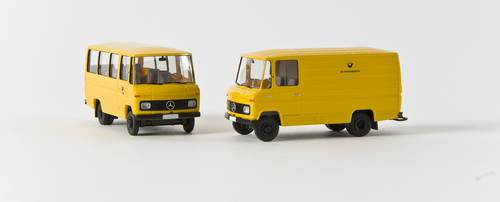 neuwertig Wiking Sondermodell alter Koffer Anhänger Bundespost gelb